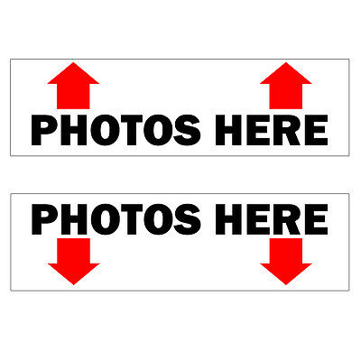 2 (White) Photos Here Photo Booth Stickers for Photobooth Enclosure
