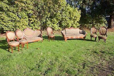 1860s rococo revival? Or eastlake? parlor set 5 chairs 2 sofas