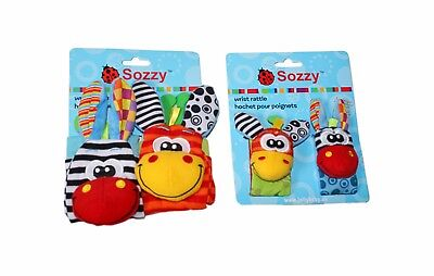 Sozzy wrist socks baby rattles Zebra Giraffe activity soft toy Retail pack