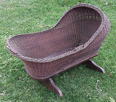 Antique Wicker Baby Cradle 1800's