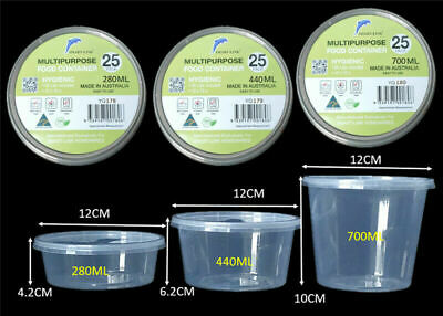 Australia made Food Containers Plastic Takeaway Disposable lunch box 280ML1000ML