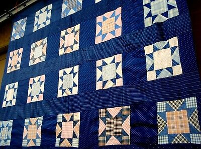 Antique Vtg early 1900's Seventeen patch quilt Top Calico Indigo blue Pink