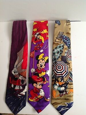 Lot of 3 Ties Looney Tunes Bugs Bunny & Mickey Disney Goofy Excellent Condition