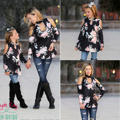 US Family Matching Clothes Women Girl Mother and Daughter Casual Party Long Tops