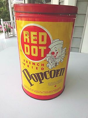 Vintage Red Dot French Fried Popcorn 12 Ounce Tin, Clown Illustrated