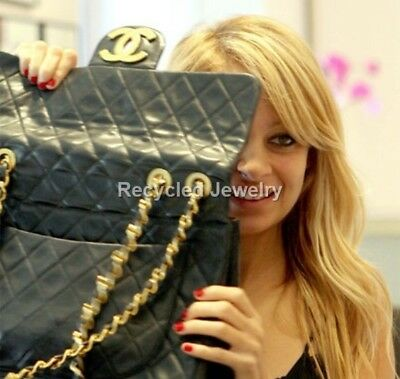 Authentic Chanel Huge Cc Ghw Logo Maxi Leather Jumbo Xl Handbag Purse Bag