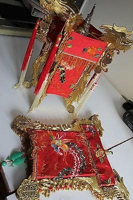 """pair of vintage chinese dragon lanterns embroidered fabric  16.5"""" tall x 14.5"""""""