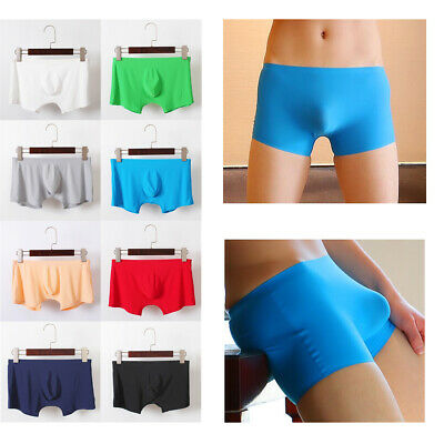 Fashion Mens U Convex Boxer Briefs Ice Silk Super Thin Trunks Shorts Underwear