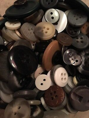 Mixed lot OLD & NEW Vintage Buttons - 100 PIECES, Sm, Med,Brown,White,Black,Grey