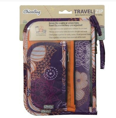 ChicoBag Travel Zipper Bag Set of 3 Flourish-Purple/Orange TSA Approved Pouches