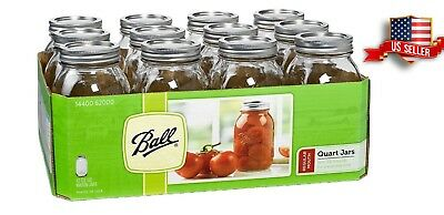 Ball Regular Mouth Clear Glass Mason Jars 32oz Quart Canning Preserve Lids 12Set