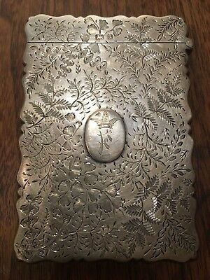 George Unite Victorian Sterling Silver Engraved Card Case