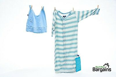 Kickee Pants Layette Gown & Knot Hat Set in Boy Desert Stripe NWT  0-3 Months