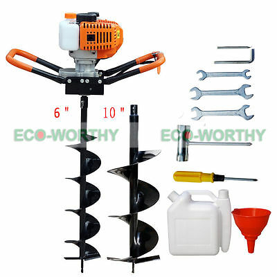 "52cc Petrol Earth Auger 2.2HP Post Hole Borer Ground Drill w/ 6"" +10"" Bits Kit"