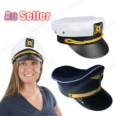 Captain Hat Adult Party Costume Skipper Sailor Ship Captain Cap Air force pilots
