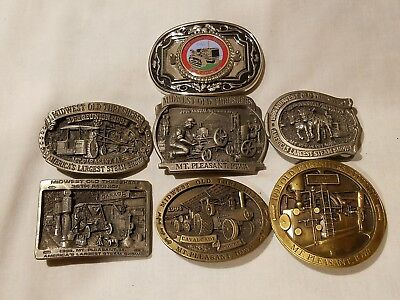 Midwest Old Threshers Mt Pleasant belt buckle lot of 7 1984 1993