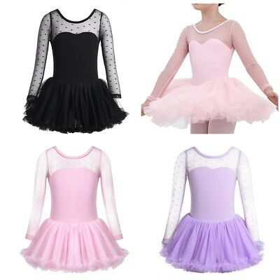 Kids Girls Ballet Leotard Dress Ballerina Dancewear Tutu Skirt Dancing Costume