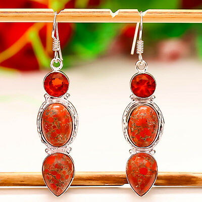 """Red Copper Turquoise Gemstone 925 Silver Jewelry Earring 2.34"""""""