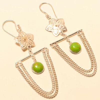 """Green Copper Turquoise Gemstone 925 Silver Jewelry Earring 2.93"""""""