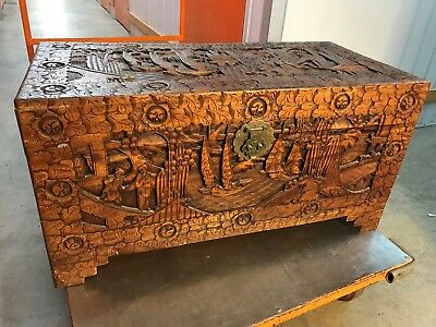 Large Vintage Carved Chinese Camphor Wood Blanket Storage Box Trunk
