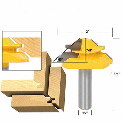 HK- Lock Miter Router Bit 45 Degree 1/2 1/4 5/16 Inch Shank Tenon Cutter Tool Be