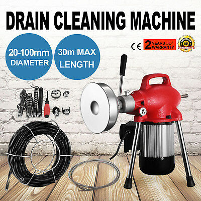 """3/4""""-4""""Dia Sectional Pipe Drain Cleaner Machine Tool Flexible 98ft Max Length"""
