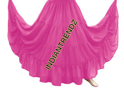 Orchid Chiffon 4 Tiered Gypsy Skirt Belly Dance Tribal Costume Club Panel Jupe