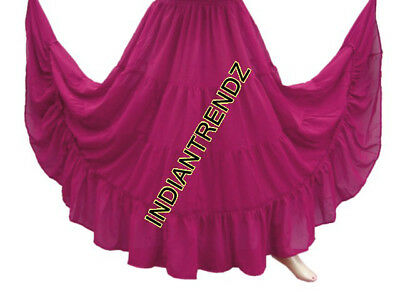 Violet Red Chiffon 4 Tiered Gypsy Skirt Belly Dance Tribal Costume Panel Jupe