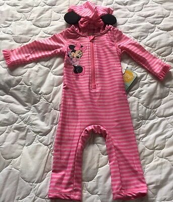 Disney Store Minnie Mouse Pink/Striped UVF 50+ Hooded Long Sleeve Swimsuit 12-18