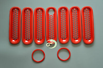 Front Mesh Insert Grille Grill Cover Trim For Jeep Wrangler JK 07-14 15 Red RY