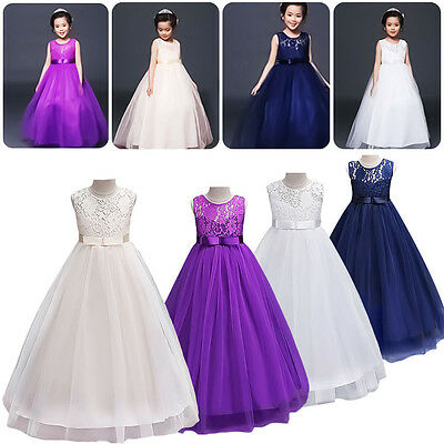 AU Stock Lace Kids Girls Chiffon Bridesmaid Wedding Pageant Formal Gown Dresses