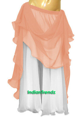 Coral & White 2 Color 2 Layer Reversible Skirt Full Circle Belly Dance Double