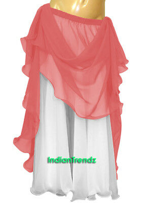Salmon & White 2 Color 2 Layer Reversible Skirt Full Circle Belly Dance Double