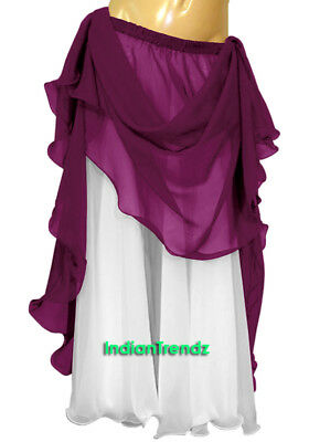 Violet Red & White 2 Color 2 Layer Reversible Skirt Full Circle Belly Dance