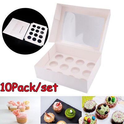 10 Pack 12 Hole Cupcake Box Cup Cake Face Boxes Display Muffin Wedding Xmas Gift