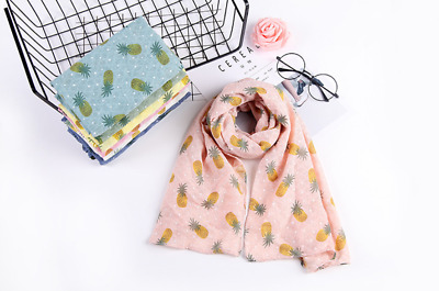 HIGH QUALITY Pineapple Fruit Print Boys&girls Cotton Hemp Scarf Shawl j