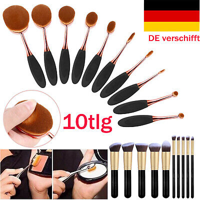10tlg Schwarz Make up Oval Pinsel Kosmetik Zahnbürste Schminkpinsel Brush Set DE