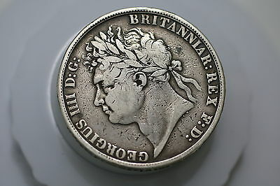 Uk Gb Crown 1821 Silver Nice Details Scarce A69 #9991
