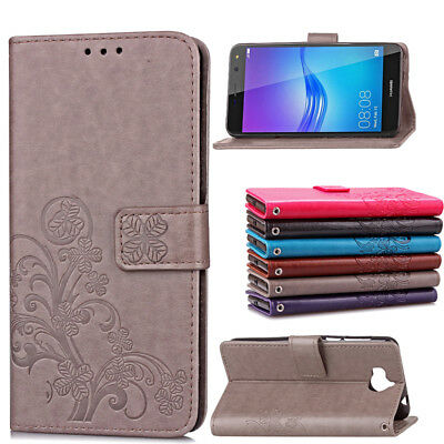 Slim Floral Leather Wallet Card Slot Flip Stand Case Cover For Huawei Y5/Y6 2017