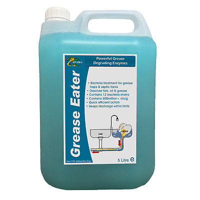Grease Trap Enzyme Cleaner Degreaser Drain Maintain HYDRA GREASE EATER LIQUID 5L