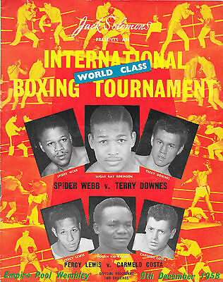 1958 - Spider Webb v Terry Downes, Middleweight Programme (on bill - T.Spinks)