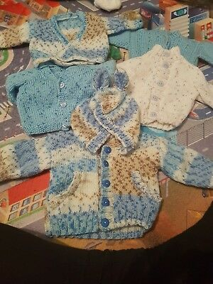 hand knitted baby cardigans newborn x5