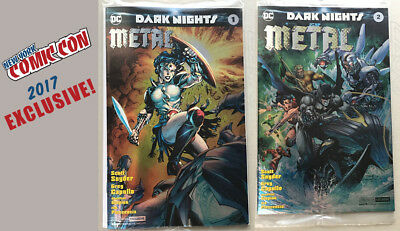 Dark Nights Metal #1 & 2 NYCC 2017 DC Convention Excl Foil covers + Poster