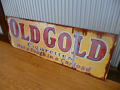Old Gold Cigarettes Metal tin sign Man cave bar tobacco smokes rustic