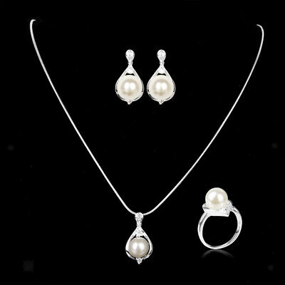 White Pearl Necklace Earring 925 Sterling Silver Plated Bridal Jewelry Sets