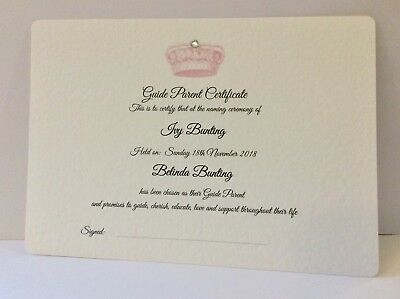 Naming Day Guide Parent/ Sponsor CERTIFICATE - Crown design - Personalised