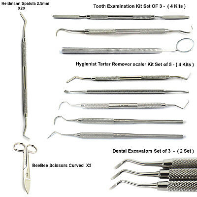 Dental Tartar Remover Tooth Examination Kit Excavator Scissors Heidmann Spatula