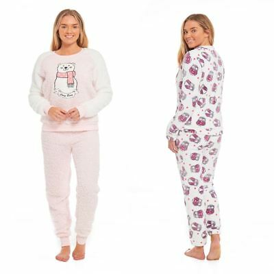 Girls Kid Pyjama PJ Set Novelty Animal Soft Long Sleeve Brushed Fleece Sleepwear