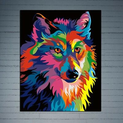 DIY Oil Painting Colorful Dog Paint By Numbers Acrylic Drawing On Canvas Decor