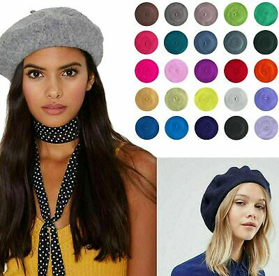 Unisex Plain Beret French Style Hat Quality Wool Mix 25 Colors